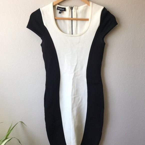 bebe Dresses & Skirts - BEBE black and white body con dress Small